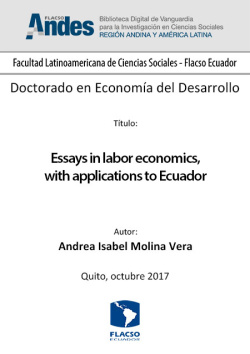 Essays in labor economics, with applications to Ecuador